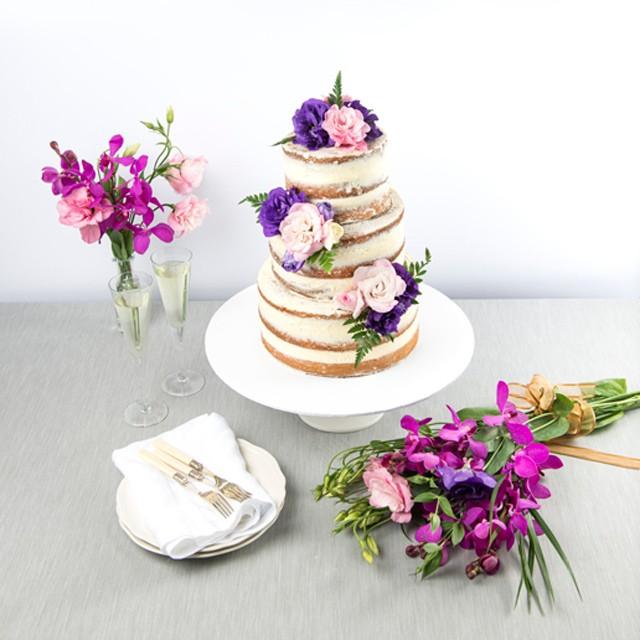 Roses & Fern Naked Wedding Cake