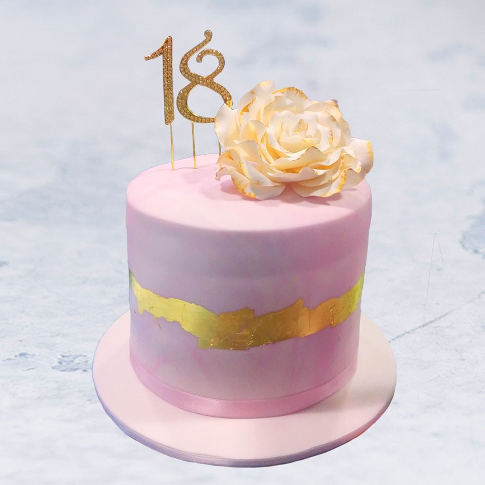 Golden Bow Birthday Cake