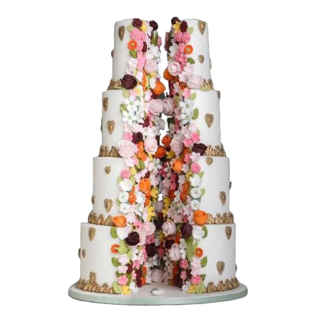 Split in Two Flowers Cake