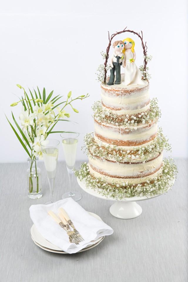 Sweet Chapel of Love Naked Wedding Cake