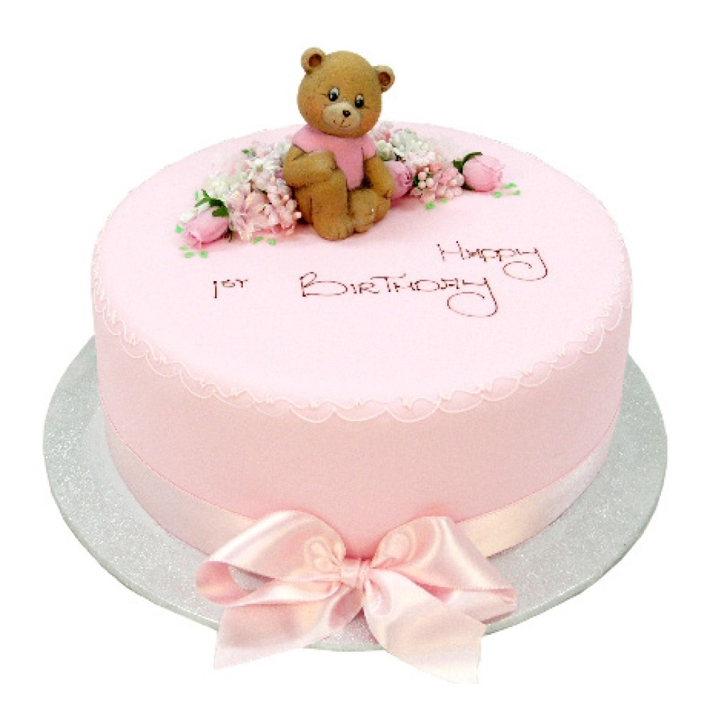 Teddy Bear in the Flowers Cake