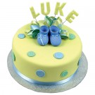 Baby Boots and Buttons Cake