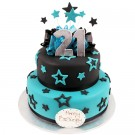 Stars and Bows 21st Cake