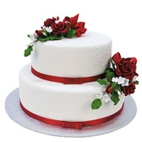 Red Spray Cake - Two Tiers