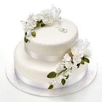 White Rose Cake - Two Tiers