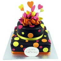 Funky Spotty Cake - Two Tiers