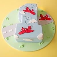 Airplane Number Celebration Cake