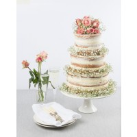 Baby's Breath Naked Wedding Cake