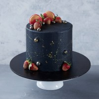 Black & Gold dust Strawberry Celebration Cake