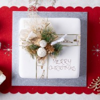 Iced Christmas Fruit Cake - Large Square