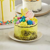 Speckled Yellow Mini Easter Brushstroke Cake - Chocolate