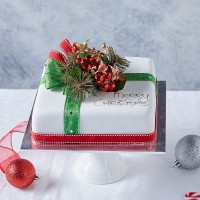 Iced Christmas Fruit Cake - Medium Square
