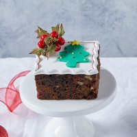 Iced Christmas Fruit Cake - Small Square Gift