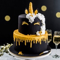 Golden Unicorn Birthday Cake