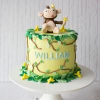 Monkey & Banana Custom Cake