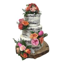 Naked Rose Wedding Cake