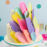 Neon Brushstroke Birthday Cake