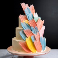 Pastel Brushstroke Birthday Cake