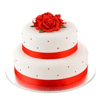 Red Rose Wedding Cake - Two Tiers