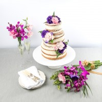 Roses & Fern Naked Wedding Cake