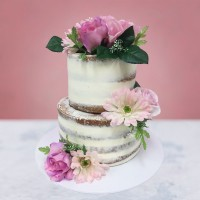 Bouquet of Flowers Naked Wedding Cake