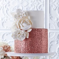 White and Rose Gold Cobbled Wedding Cake
