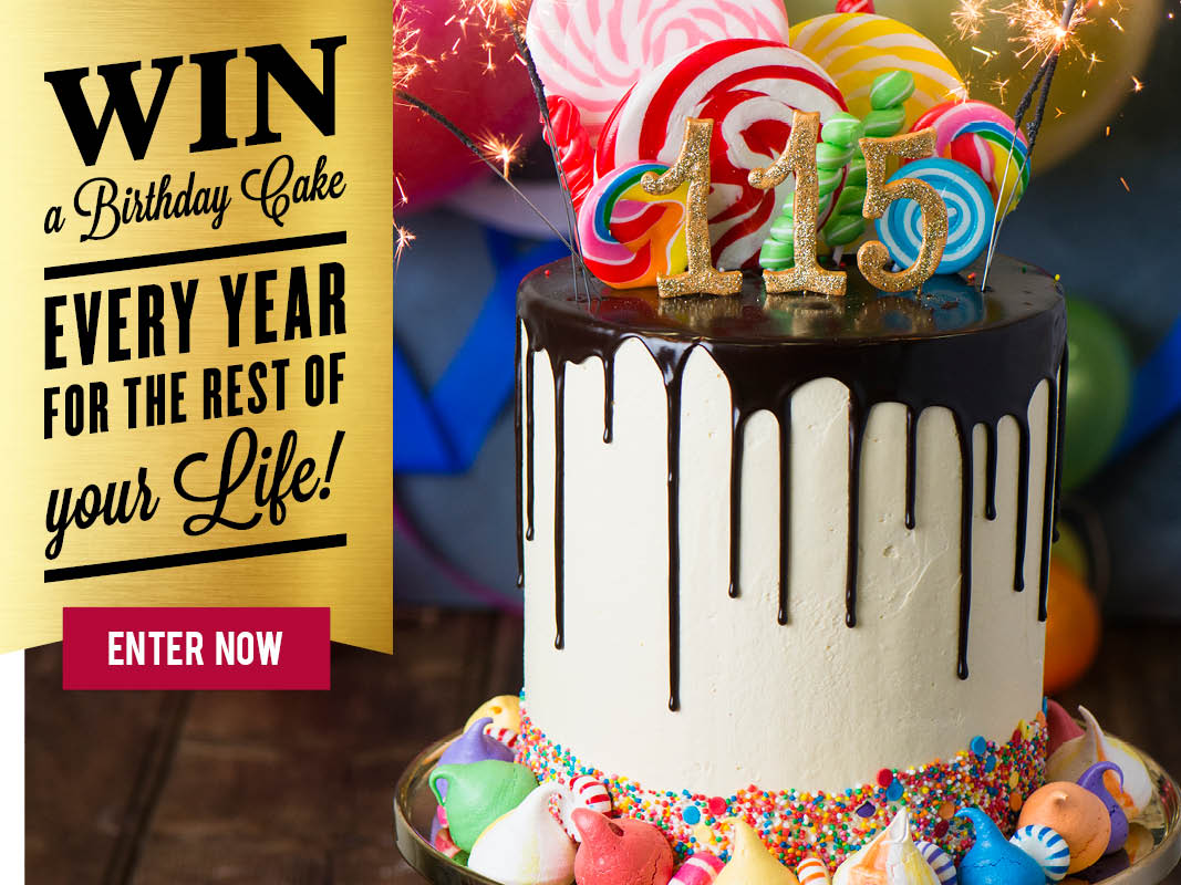 Win a Birthday Cake every year for the rest of your life
